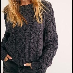 Free People Aran Isle Cable Crew Sweater. Size M